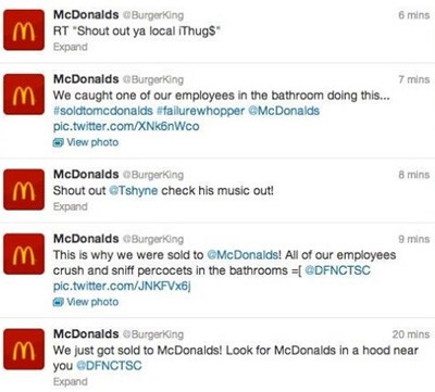 Hackers posing as McDonald's on Burger King's Twitter account