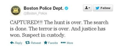 Boston Police Department announce via Twitter that bombing suspect has been captured