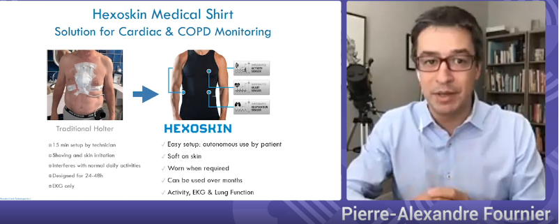 Hexoskin medical shirt for cardiac and COPD monitoring with speaker Pierre-Alexandre Fournier