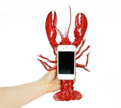 lobster iPhone case held in hand