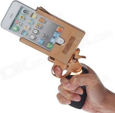 gold gun-shaped iPhone case