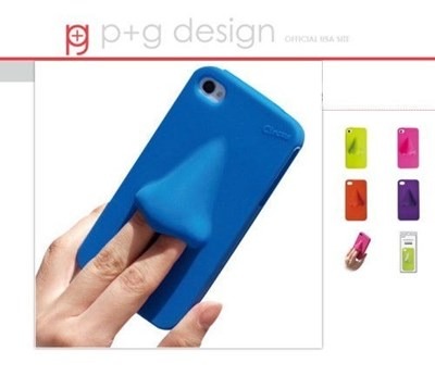 HANA iPhone case by P+G Design has a giant nose held by sticking fingers in its nostrils