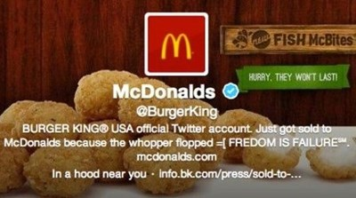 Burger King Twitter account hacked posting they've been sold to McDonald's