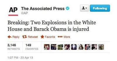 hacked AP Twitter post about explosions in White House