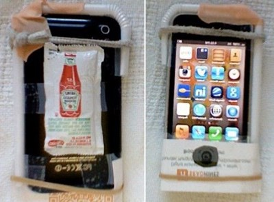 DIY iPhone case made with tape ketchup packet straw and other various objects