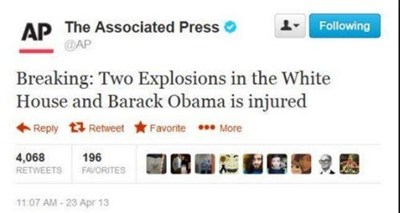 hacked AP Twitter account announces untrue White House bombing