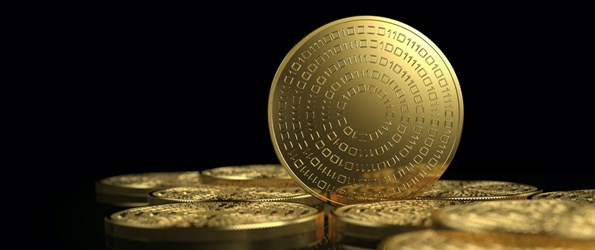 Gold coins isolated on white background. Cryptocurrency concept