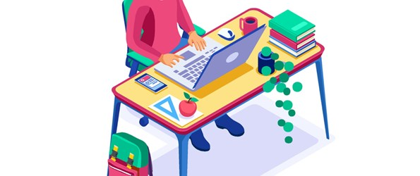 Student knowledge by online laptop, education at home. Books on the desk at home and a laptop for knowledge.
