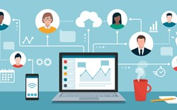 Remote work and virtual business team devops
